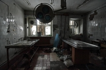 Autopsy room in an abandoned mortuary Russia