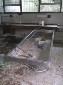 Autopsy table in abandoned Mortuary Surrey UK