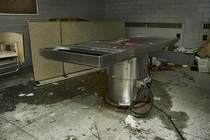 Autopsy Table Inside the Morgue of the Abandoned St Jospehs Hospital in Parry Sound Ontario