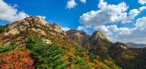 Autumn blankets the mountains in Bukhansan National Park Seoul
