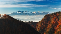 Autumn in Tatra mountains View from Sokolica Pieniny Poland