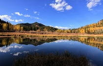 Autumn mountain reflection Gold camp road in Colorado OC