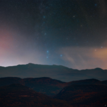 Autumn stars over the Adirondack Mountains in Lake Placid NY