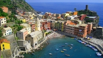 Awe-inspiring view of the port of Vernazza Cinque Terre Italy