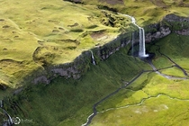 Awesome aerial view of the iconic Seljalandsfoss Falls by Sarah Martinet
