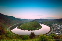 Awesome View of Mosel Bend Moselschleife at dawn Germany