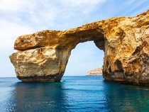 Azure Window a Natural Limestone Arch on the Maltese Island of Gozo Taken before the collapse