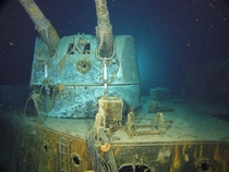 B Turret on the wreck of HMAS Sydney showing a direct hit from the cm guns of Kormoran suffered during their mutually destructive engagement
