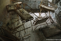 Baby beds at a hospital in Pripyat  Chernobyl