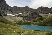 Backcountry camping Cracker lake Glacier National Park Montana