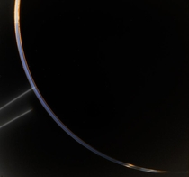 Backlit view of sunlight refracted through Jupiters upper atmosphere and rings as seen by Voyager  in July