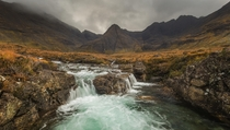 Bad weather at the Fairy Pools on Isle of Skye