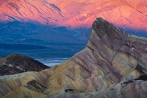 Badlands of Death Valley National Park CA during a typical winter sunrise
