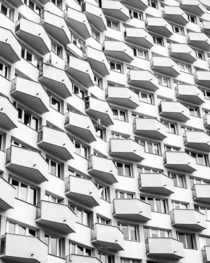 balconies of building Warsaw Poland x