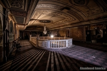 Balcony lobby of abandoned theater