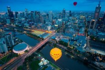 Balloons over a quiet Melbourne morning