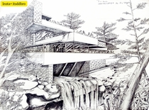 Ballpoint pen sketch of most famous building Falling Waters i did when i was in st year of Architecture