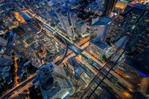 Bangkok business district at night  by Prachanart Viriyaraks