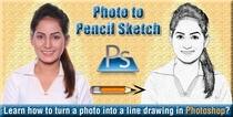 Banner of how to turn a photo into a line drawing effect in photoshop