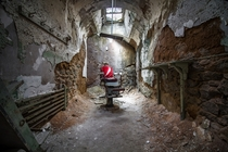 Barber chair in an abandoned prison