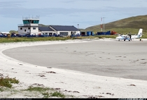Barra Airport located in the Outer Hebrides islands of Scotland is the only airport in the world where scheduled commercial flights use a beach as a runway low tide permitting