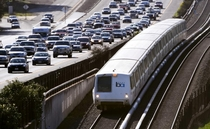BART Train running by Route  in Lafayette California