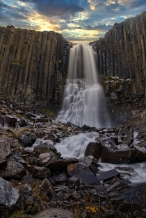 Basalt waterfall near stulagil canyon in Iceland x