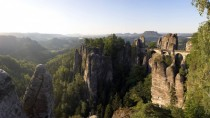Bastei Bridge in Saxon Switzerland National Park Germany built in
