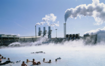 Bathers outside the Svartsengi geothermal power station in Iceland