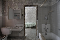 Bathroom amp Look Into a Patient Bedroom on an Abandoned Psychiatric Hospital