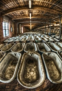 Baths left in an abandoned bath factory
