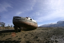 Beached boat near Corpach Scotland