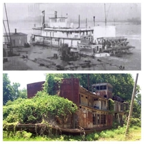 Beached remains of the Mamie S Barrett a sternwheeler used by FDR in the Mississippi River inspections