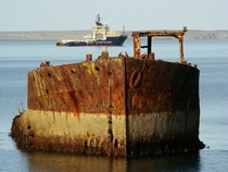 Beached wreck at Inganess Bay Kirkwall Scotland photo by Dave Dawson