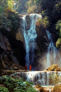 Beatiful Kuang Si waterfall in Laos