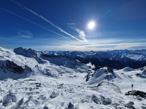Beautiful afternoon scenes in the French Alps Val Thorens