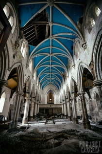 Beautiful blue ceiling in an abandoned and decaying Yorkshire church
