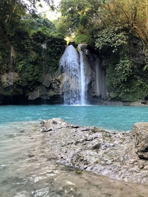 Beautiful blue waters of Kawasan Falls Philippines