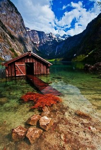 Beautiful Boathouse Obersee Lake Germany