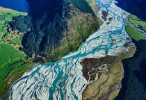 Beautiful braided rivers on the south island of New Zealand above the Dart River delta