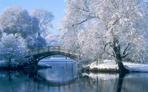 Beautiful bridge on serene winter morning unknown location