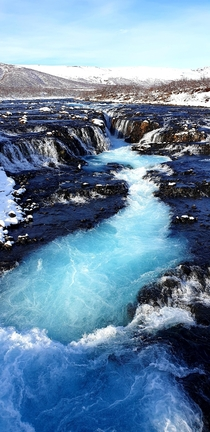 Beautiful Bruarfoss Waterfall today in Iceland