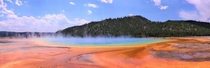 Beautiful colors at Grand Prismatic Spring Yellowstone National Park Wyoming