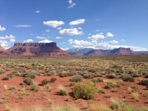 Beautiful contrast of the Utah desert and clear blue sky outside Moab