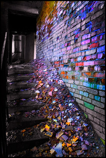Beautiful decaying kaleidoscope bricks Siberia Russia