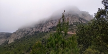 Beautiful foggy mountains in Catalonia Spain