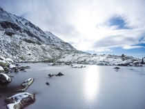 Beautiful frozen tarn in High Tatras Slovakia