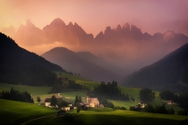 Beautiful Hazy sunrise at Val Di Funes Dolomites Italy Albert Dros