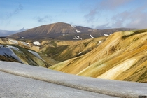 Beautiful hills on the way to the Hraftinnusker hut in the highlands of Iceland