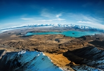 Beautiful Lake Pukaki in New Zealand from a helicopter